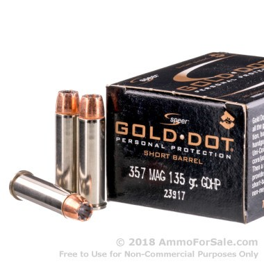 20 Rounds of 135gr JHP .357 Mag Ammo by Speer