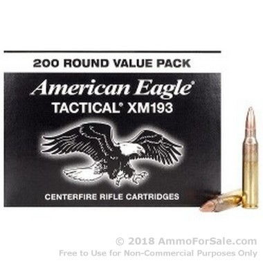 200 Rounds of 55gr FMJ 5.56x45 Ammo by Federal