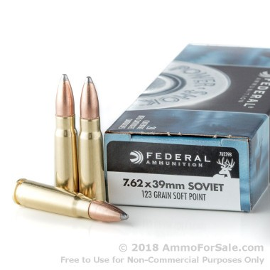 20 Rounds of 123gr SP 7.62x39mm Ammo by Federal