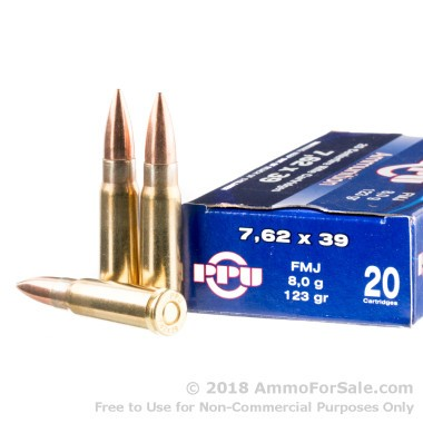 1000 Rounds of 123gr FMJ 7.62x39mm Ammo by Prvi Partizan