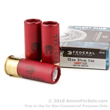 5 Rounds of 1 ounce Sabot Slug 12ga Ammo by Federal