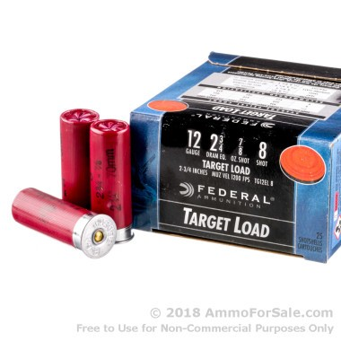 25 Rounds of 7/8 ounce #8 shot 12ga Ammo by Federal
