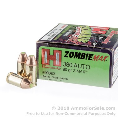 250 Rounds of 90gr Z-Max .380 ACP Ammo by Hornady