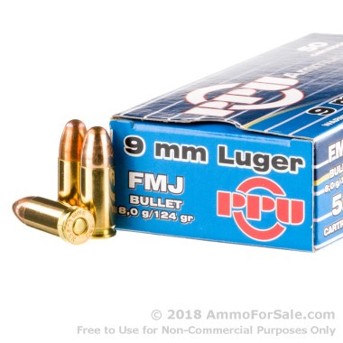 50 Rounds of 124gr FMJ 9mm Ammo by Prvi Partizan
