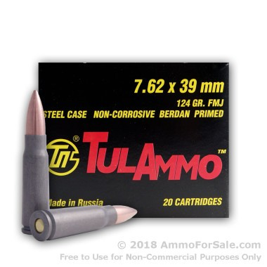 20 Rounds of 124gr FMJ 7.62x39mm Ammo by Tula