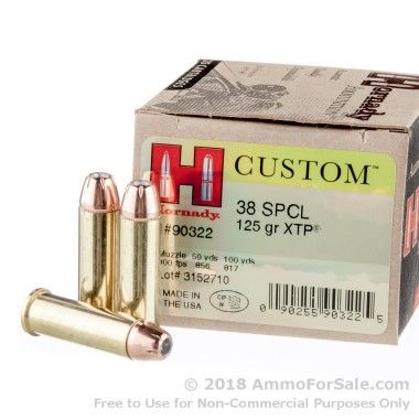 250 Rounds of 125gr JHP .38 Spl Ammo by Hornady