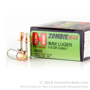 250 Rounds of 115gr Z-Max 9mm Ammo by Hornady
