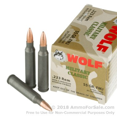20  Rounds of 55gr FMJ .223 Ammo by Wolf WPA