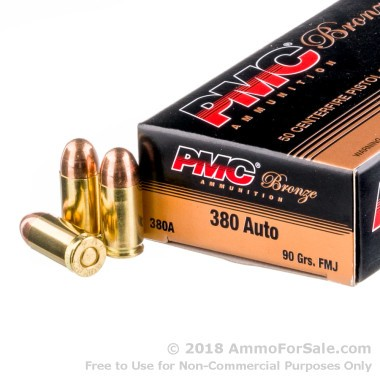 50 Rounds of 90gr FMJ .380 ACP Ammo by PMC