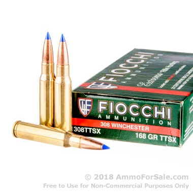 20 Rounds of 168gr TTSX .308 Win Ammo by Fiocchi