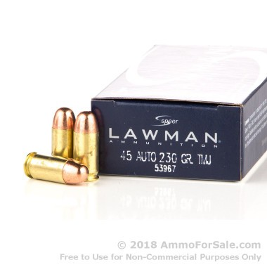 50 Rounds of 230gr FMJ .45 ACP Ammo by Speer