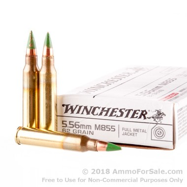 20 Rounds of 62gr FMJ 5.56x45 Ammo by Winchester