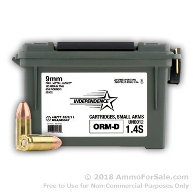 350 Rounds of 115gr FMJ 9mm Ammo by Independence