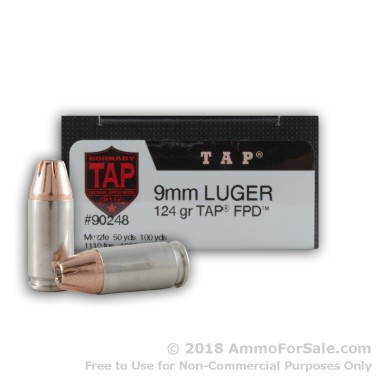 250 Rounds of 124gr Polymer Tipped 9mm Ammo by Hornady TAP