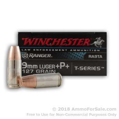 50 Rounds of 127gr JHP 9mm +P+ Ammo by Winchester Ranger