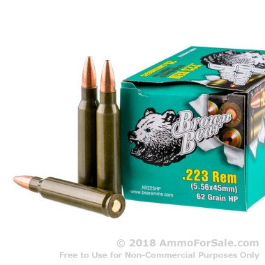 500  Rounds of 62gr HP .223 Ammo by Brown Bear
