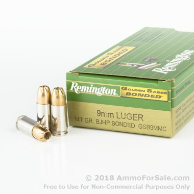 50 Rounds of 147gr JHP 9mm Golden Saber Bonded Ammo by Remington