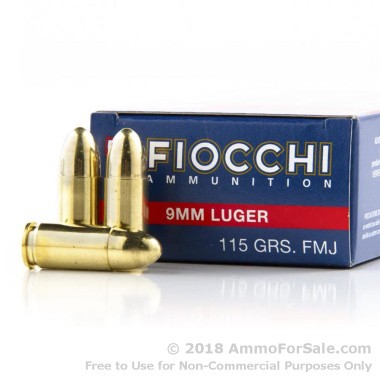 1000 Rounds of 115gr FMJ 9mm Ammo by Fiocchi