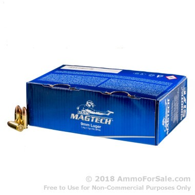 250 Rounds of 115gr FMC 9mm Ammo by Magtech