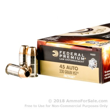 50 Rounds of 230gr HST JHP .45 ACP Ammo by Federal Law Enforcement