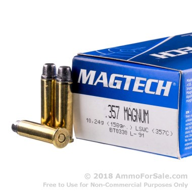 50 Rounds of 158gr LSWC .357 Mag Ammo by Magtech