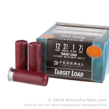 25 Rounds of 1 ounce #7 1/2 shot 12ga Ammo by Federal