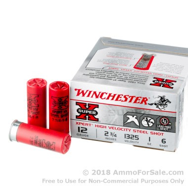 250 Rounds of 1 ounce #6 Shot (Steel) 12ga Ammo by Winchester