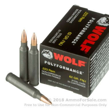 500  Rounds of 62gr FMJ .223 Ammo by Wolf WPA Polyformance