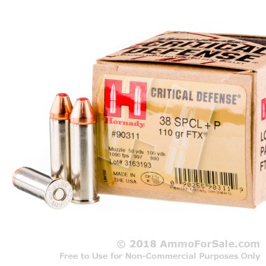 250 Rounds of 110gr JHP .38 Spl Ammo by Hornady