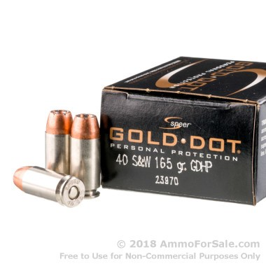 20 Rounds of 165gr JHP .40 S&W Ammo by Speer