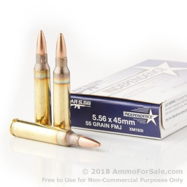 500  Rounds of 55gr FMJBT 5.56x45 Ammo by Independence