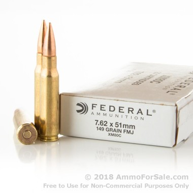 500  Rounds of 149gr FMJ 7.62x51mm Ammo by Federal