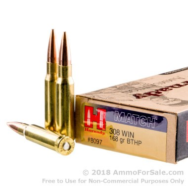 20 Rounds of 168gr HPBT .308 Win Ammo by Hornady