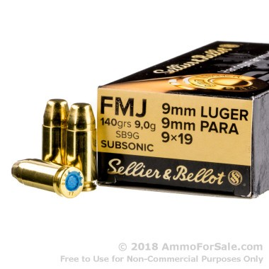 50 Rounds of 140gr FMJ 9mm Subsonic Ammo by Sellier & Bellot