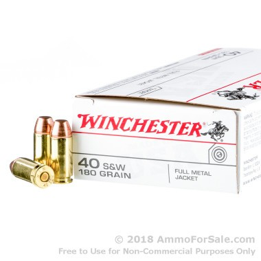 500  Rounds of 180gr FMJ .40 S&W Ammo by Winchester