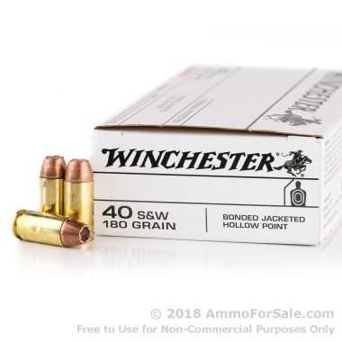 50 Rounds of 180gr JHP Bonded (Q4369) .40 S&W Ammo by Winchester