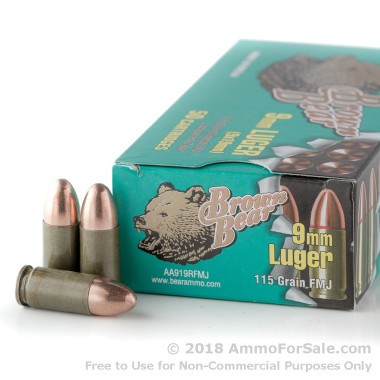 500  Rounds of 115gr FMJ 9mm Ammo by Brown Bear
