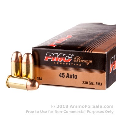 50 Rounds of 230gr FMJ .45 ACP Ammo by PMC