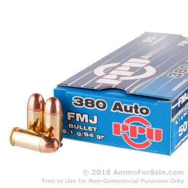 400 Rounds of 94gr FMJ .380 ACP Ammo by Prvi Partizan