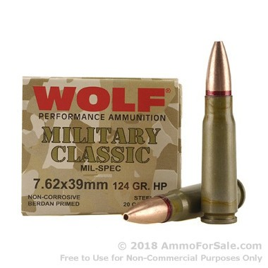 500  Rounds of 124gr HP 7.62x39mm Ammo by Wolf