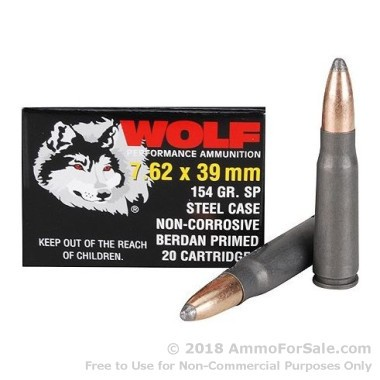 1000 Rounds of 154gr SP 7.62x39mm Ammo by Wolf