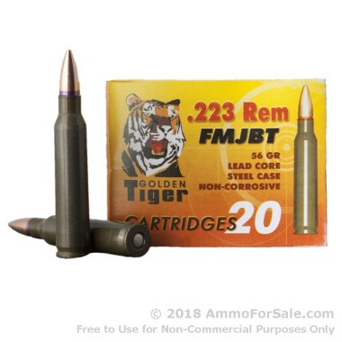 20 Rounds of 56gr FMJBT .223 Ammo by Golden Tiger