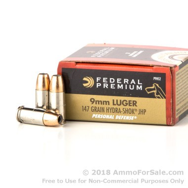20 Rounds of 147gr JHP 9mm Ammo by Federal