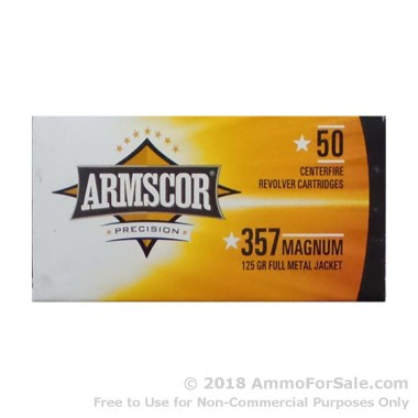 50 Rounds of 125gr FMJ .357 Mag Ammo by Armscor
