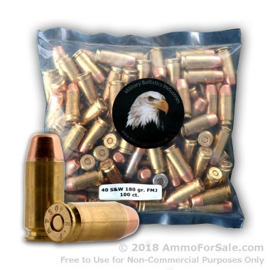 100 Rounds of 180gr FMJ .40 S&W Ammo by M.B.I.