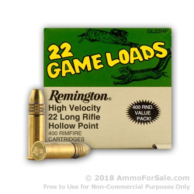 400 Rounds of 36gr HP .22 LR Ammo by Remington
