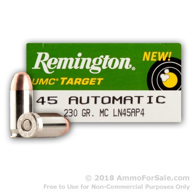 50  Rounds of 230gr MC .45 ACP Nickel Plated Ammo by Remington