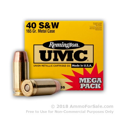 250 Rounds of 165gr MC .40 S&W Ammo by Remington