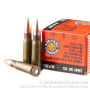 1000 Rounds of 124gr HPBT 7.62x39mm Ammo by Red Army Standard