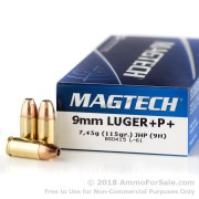 50 Rounds of 115gr +P+ JHP 9mm Ammo by Magtech